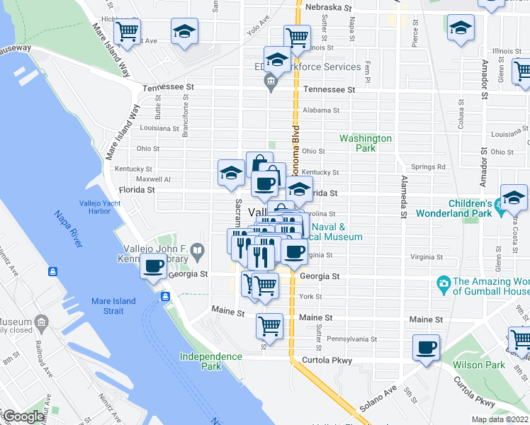 map of restaurants, bars, coffee shops, grocery stores, and more near in Vallejo
