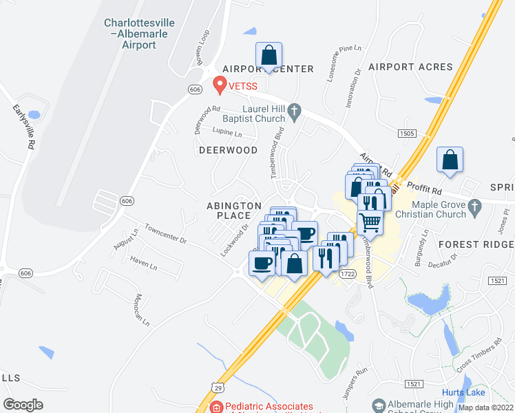 map of restaurants, bars, coffee shops, grocery stores, and more near Livingston Dr in Albemarle