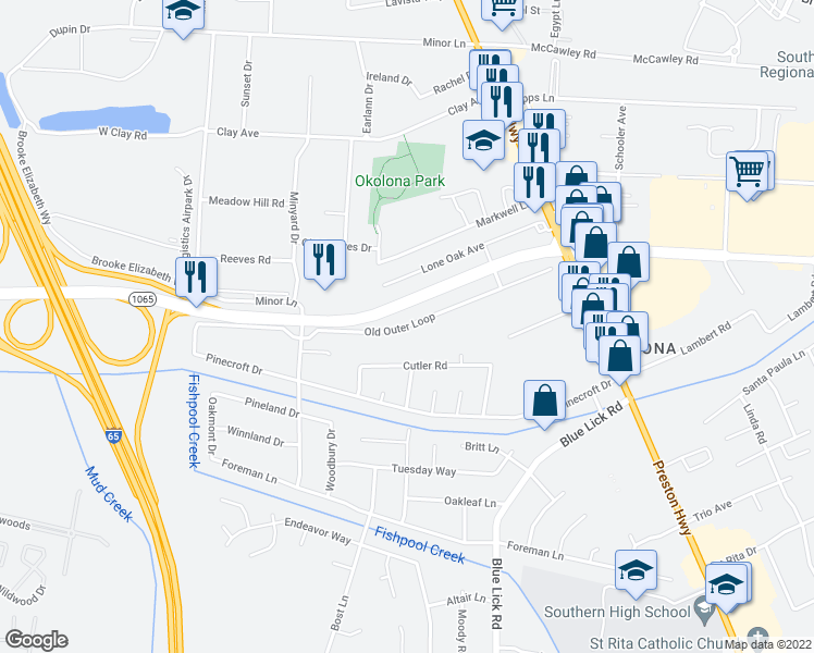 map of restaurants, bars, coffee shops, grocery stores, and more near 3705 Old Outer Loop in Louisville