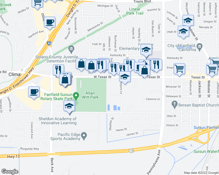 map of restaurants, bars, coffee shops, grocery stores, and more near Curtis Drive in Fairfield