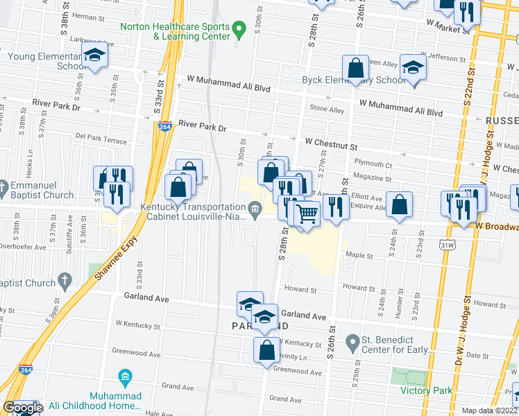 map of restaurants, bars, coffee shops, grocery stores, and more near 800-898 South 29th Street in Louisville