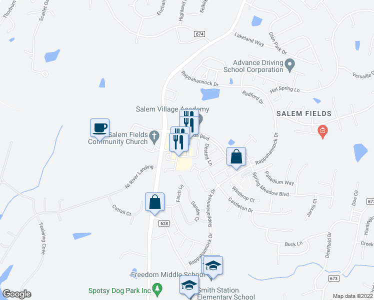 map of restaurants, bars, coffee shops, grocery stores, and more near 7100 Salem Fields Boulevard in Fredericksburg