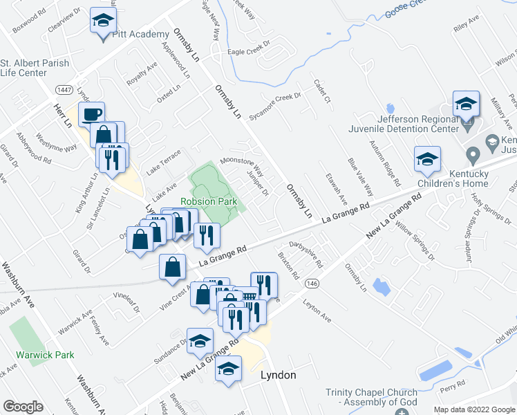 map of restaurants, bars, coffee shops, grocery stores, and more near 8001-8099 Pelican Way in Lyndon