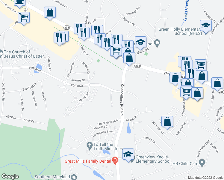 map of restaurants, bars, coffee shops, grocery stores, and more near 22502 Iverson Drive in Great Mills