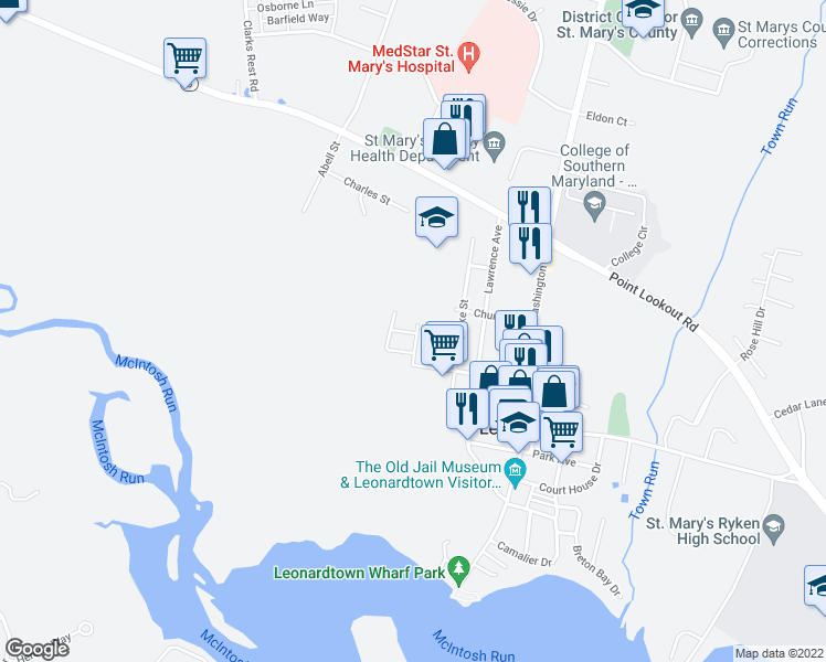 map of restaurants, bars, coffee shops, grocery stores, and more near 41485-41499 Norris Street in Leonardtown