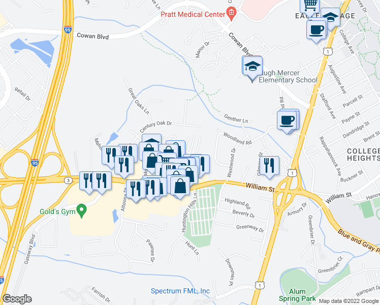 map of restaurants, bars, coffee shops, grocery stores, and more near 1900-1998 Riverwoods Dr in Fredericksburg