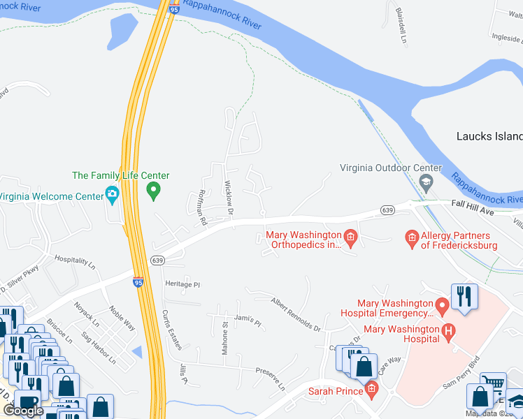 map of restaurants, bars, coffee shops, grocery stores, and more near 100 Weston Ln in Fredericksburg