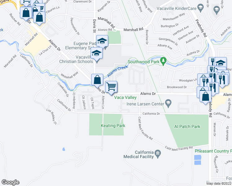 map of restaurants, bars, coffee shops, grocery stores, and more near 1500 Alamo Drive in Vacaville