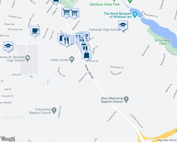 map of restaurants, bars, coffee shops, grocery stores, and more near 1109-1119 Snow Hill Road in Salisbury