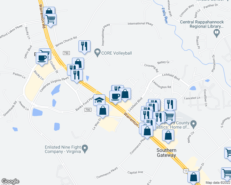 map of restaurants, bars, coffee shops, grocery stores, and more near 100 Green Tree Road in Fredericksburg