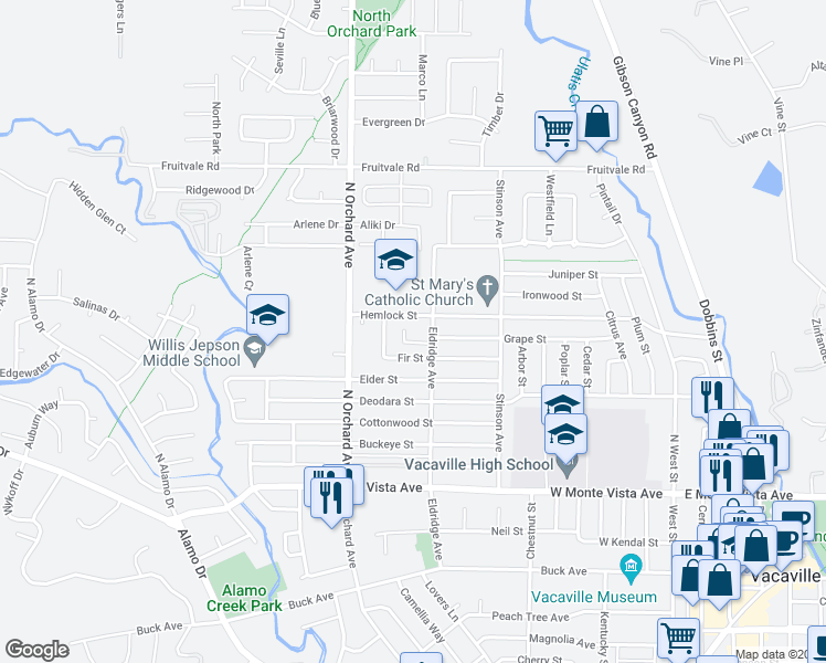 map of restaurants, bars, coffee shops, grocery stores, and more near 425 Hemlock St in Vacaville