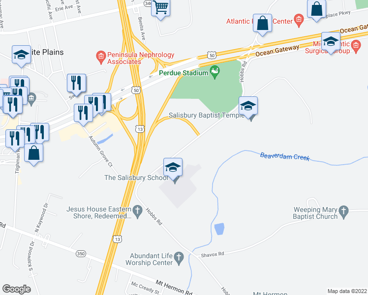 map of restaurants, bars, coffee shops, grocery stores, and more near 6272-6290 Hobbs Road in Salisbury
