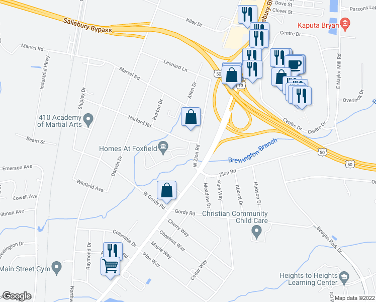 map of restaurants, bars, coffee shops, grocery stores, and more near 100 Foxfield Cir in Salisbury