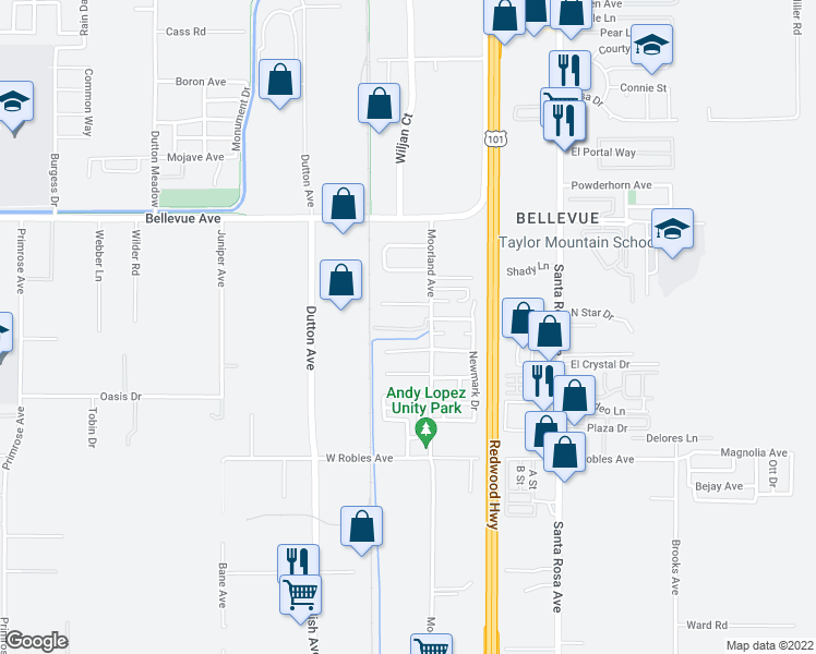map of restaurants, bars, coffee shops, grocery stores, and more near 200 Cranbrook Way in Santa Rosa