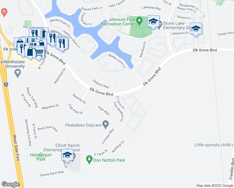 map of restaurants, bars, coffee shops, grocery stores, and more near 3377 Marina Cove Circle in Elk Grove