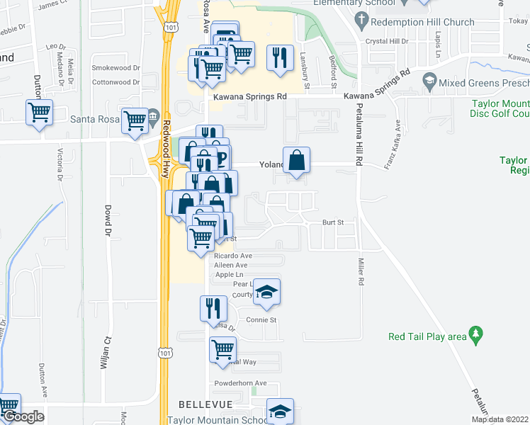map of restaurants, bars, coffee shops, grocery stores, and more near 2319 Summer Creek Drive in Santa Rosa