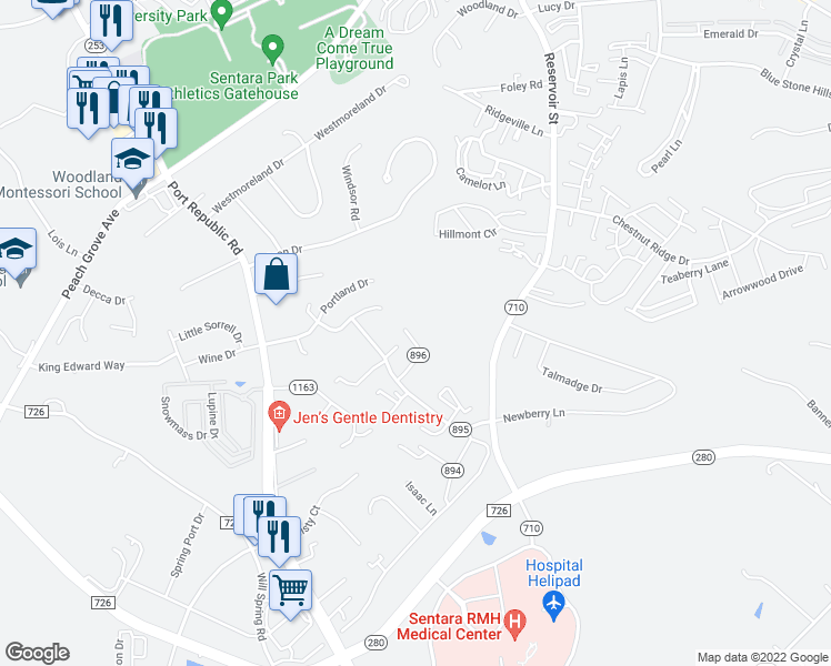 map of restaurants, bars, coffee shops, grocery stores, and more near 1013 Sherwood Court in Harrisonburg