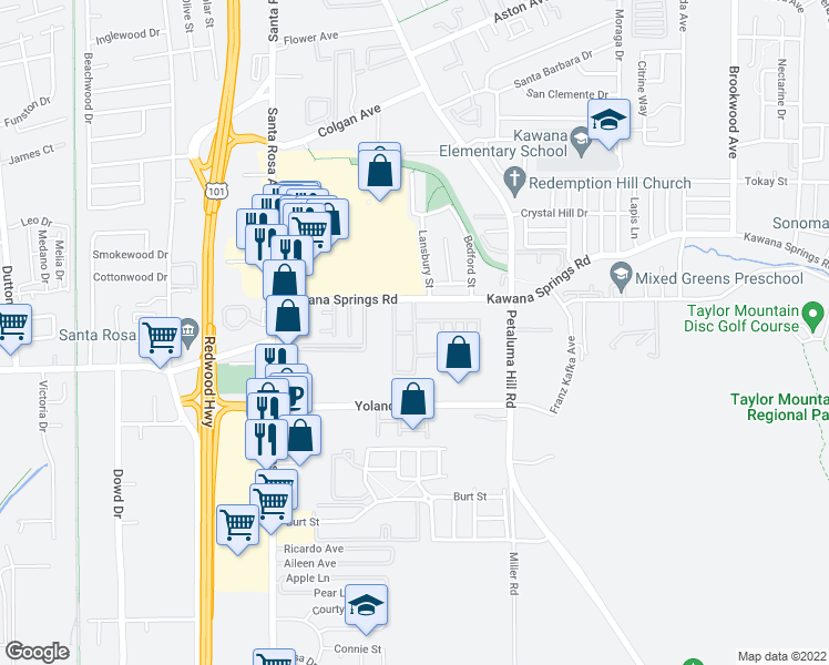 map of restaurants, bars, coffee shops, grocery stores, and more near 2386-2398 Meadow Way in Santa Rosa