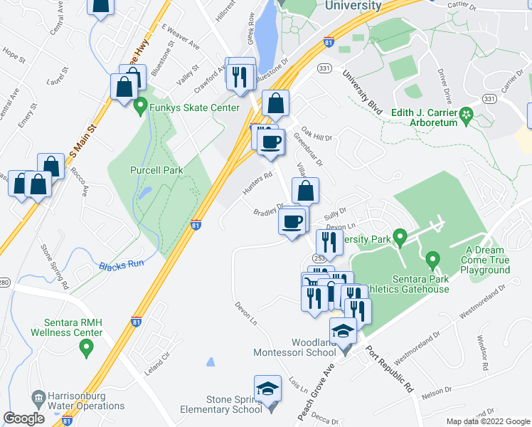 map of restaurants, bars, coffee shops, grocery stores, and more near Bradley Drive in Harrisonburg