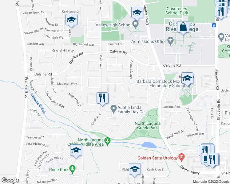 map of restaurants, bars, coffee shops, grocery stores, and more near Picket Ct in Sacramento