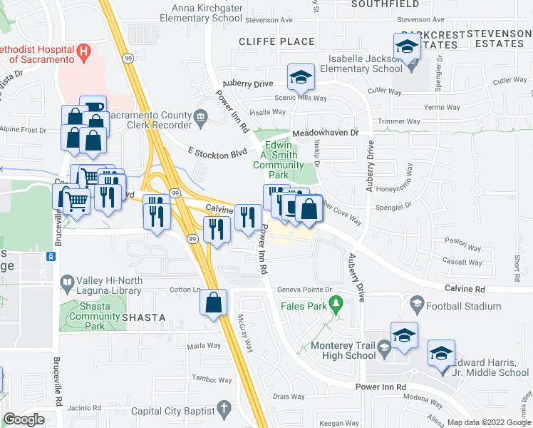 map of restaurants, bars, coffee shops, grocery stores, and more near Power Inn Rd & Calvine Rd in Sacramento