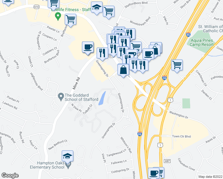 map of restaurants, bars, coffee shops, grocery stores, and more near 218-224 Waterside Terrace in Stafford