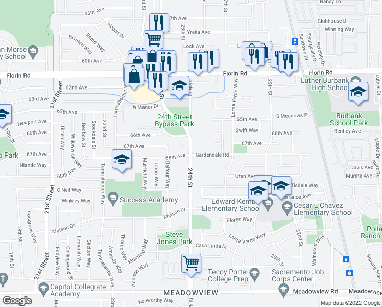 map of restaurants, bars, coffee shops, grocery stores, and more near 7404 24th St in Sacramento