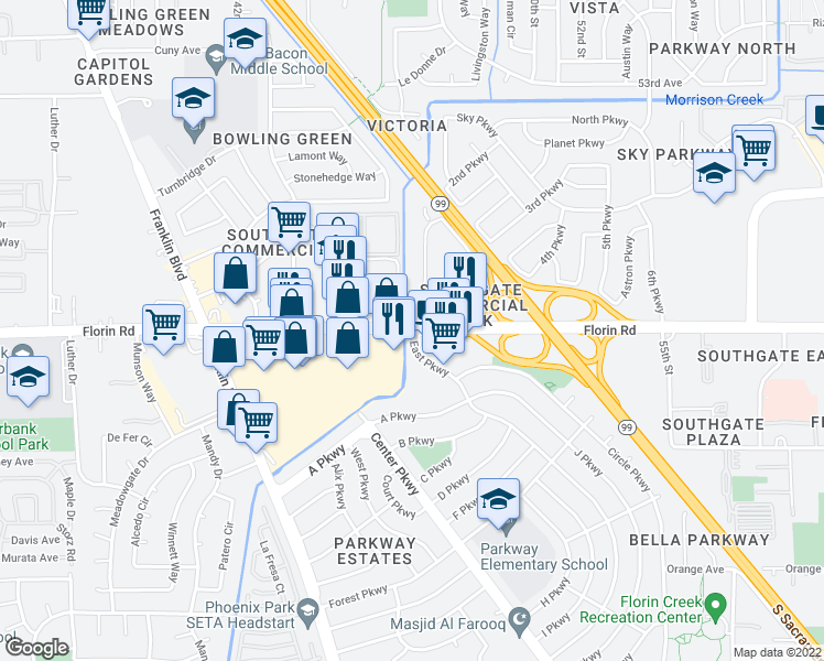 map of restaurants, bars, coffee shops, grocery stores, and more near Florin Road & East Parkway in Parkway-South Sacramento