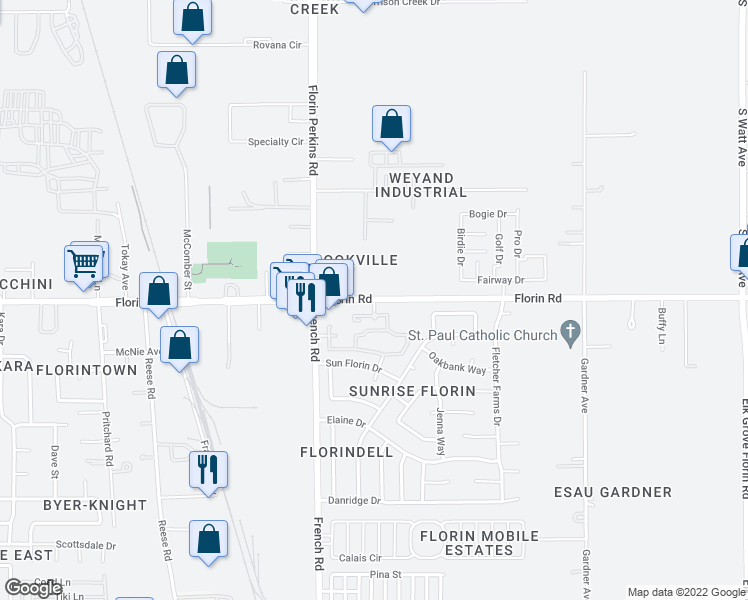 map of restaurants, bars, coffee shops, grocery stores, and more near 8550 Florin Road in Sacramento