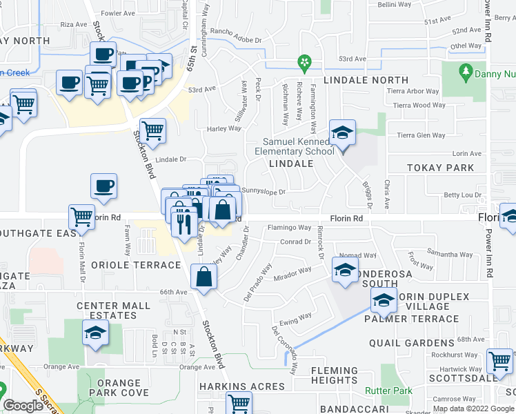 map of restaurants, bars, coffee shops, grocery stores, and more near 6901 Florin Road in Sacramento