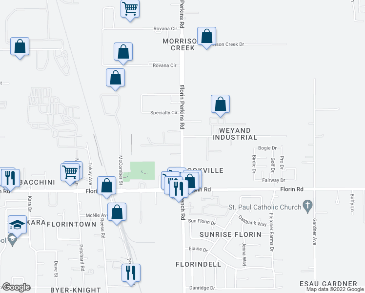 map of restaurants, bars, coffee shops, grocery stores, and more near Florin Perkins Rd in Sacramento