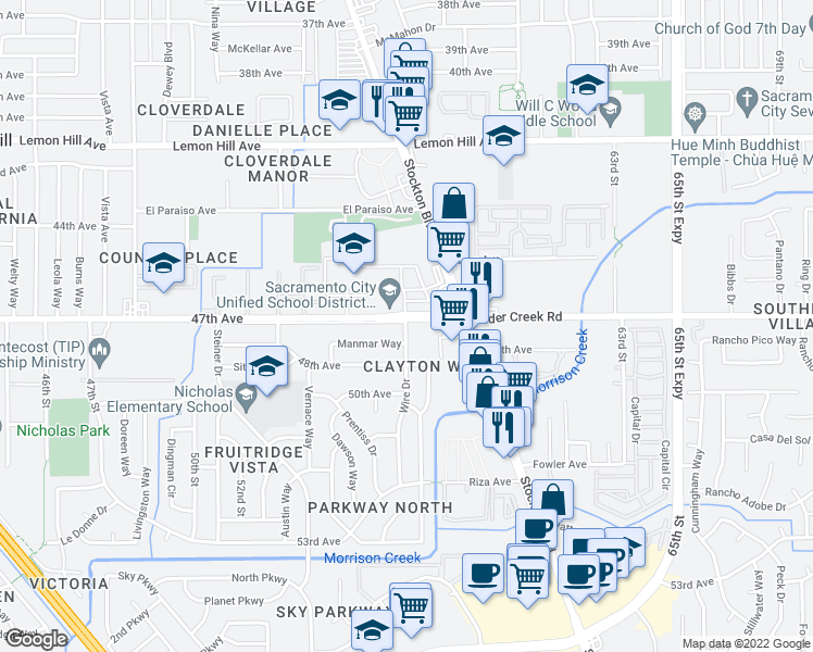 map of restaurants, bars, coffee shops, grocery stores, and more near 5728 Manmar Way in Sacramento