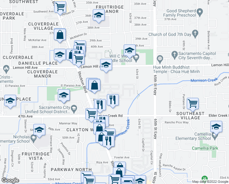 map of restaurants, bars, coffee shops, grocery stores, and more near 6025 Dias Ave in Sacramento