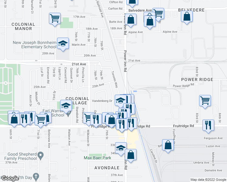 map of restaurants, bars, coffee shops, grocery stores, and more near 5101 80th St in Sacramento