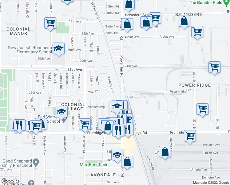 map of restaurants, bars, coffee shops, grocery stores, and more near 5065 Toronto Way in Sacramento