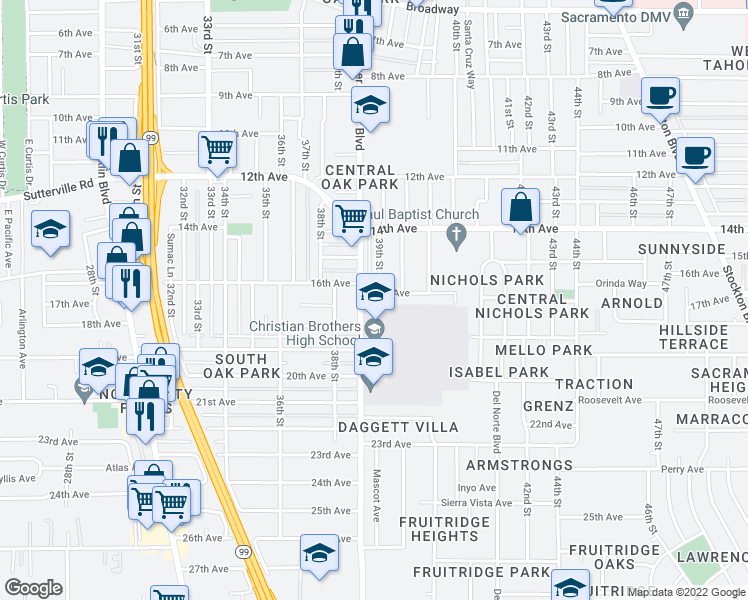map of restaurants, bars, coffee shops, grocery stores, and more near 3878 17th Avenue in Sacramento