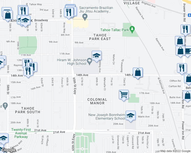 map of restaurants, bars, coffee shops, grocery stores, and more near 3900 69th St in Sacramento