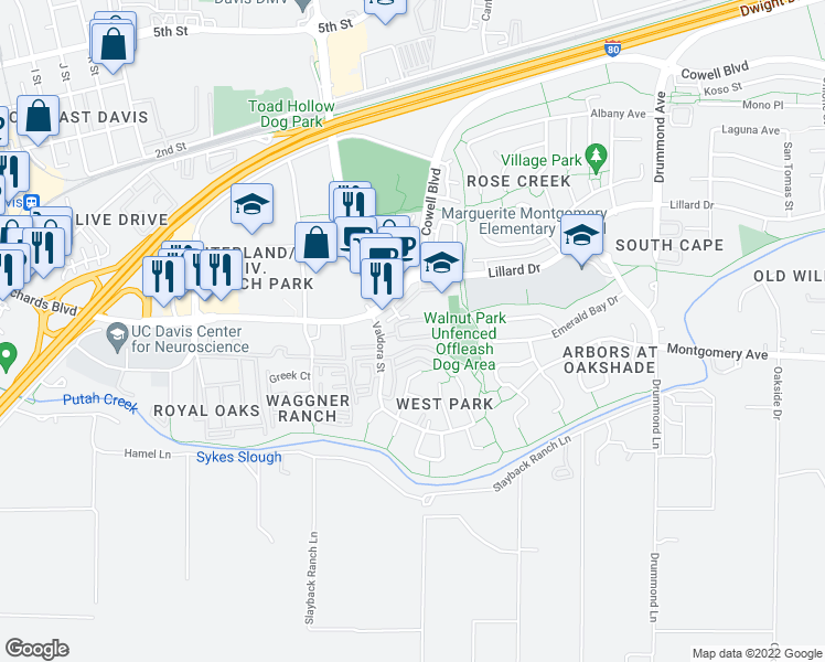 map of restaurants, bars, coffee shops, grocery stores, and more near 8 Barony Place in Davis