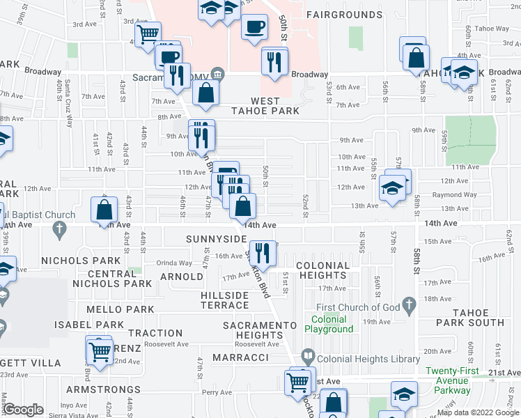 map of restaurants, bars, coffee shops, grocery stores, and more near 4949 13th Avenue in Sacramento