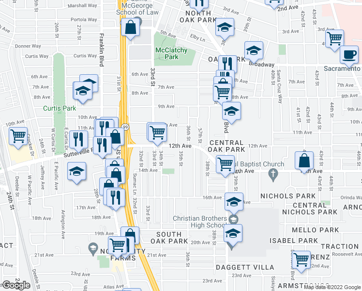 map of restaurants, bars, coffee shops, grocery stores, and more near 12th Avenue & 35th Street in Sacramento