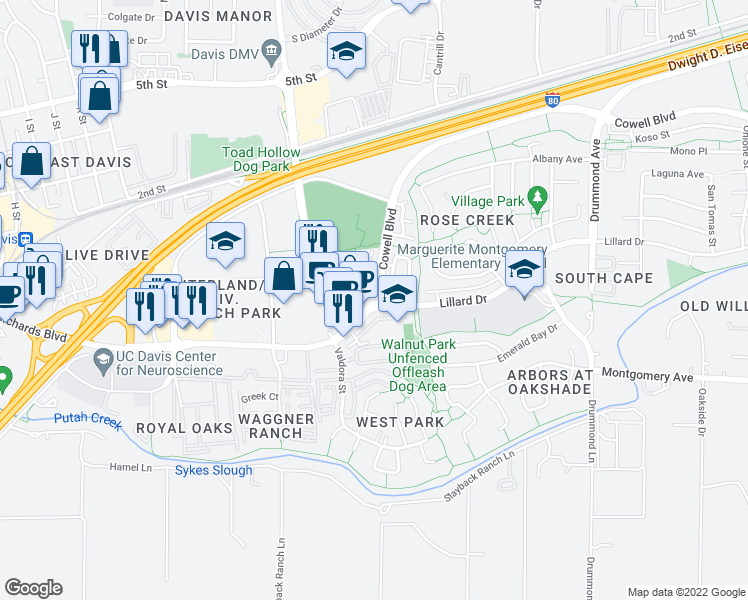 map of restaurants, bars, coffee shops, grocery stores, and more near Pole Line Rd & Lillard Dr in Davis
