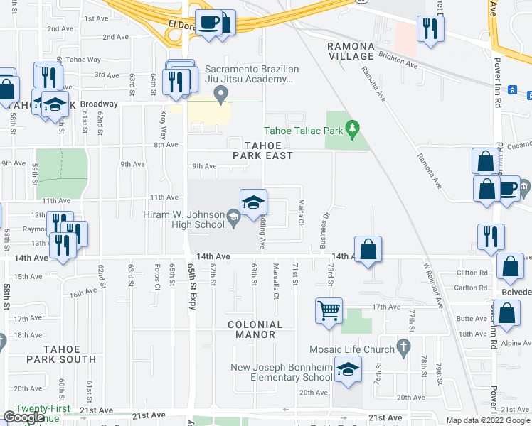 map of restaurants, bars, coffee shops, grocery stores, and more near 3657 Redding Avenue in Sacramento