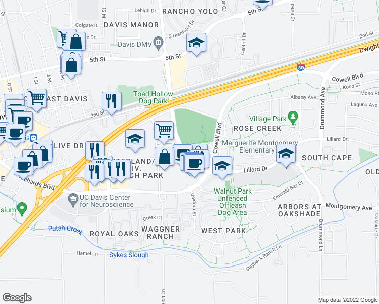 map of restaurants, bars, coffee shops, grocery stores, and more near 2472 Halsey Cir in Davis