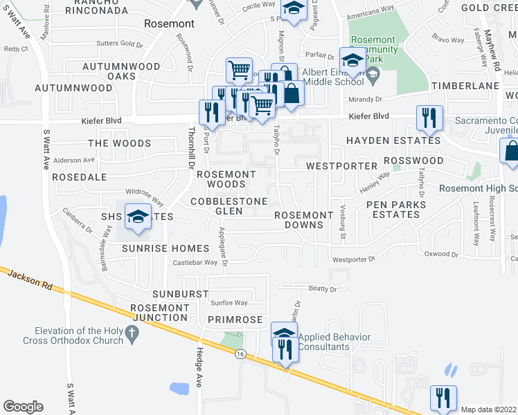 map of restaurants, bars, coffee shops, grocery stores, and more near 9115 Newhall Drive in Sacramento