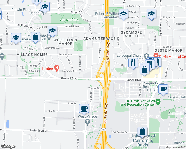map of restaurants, bars, coffee shops, grocery stores, and more near 1617 Russell Boulevard in Davis