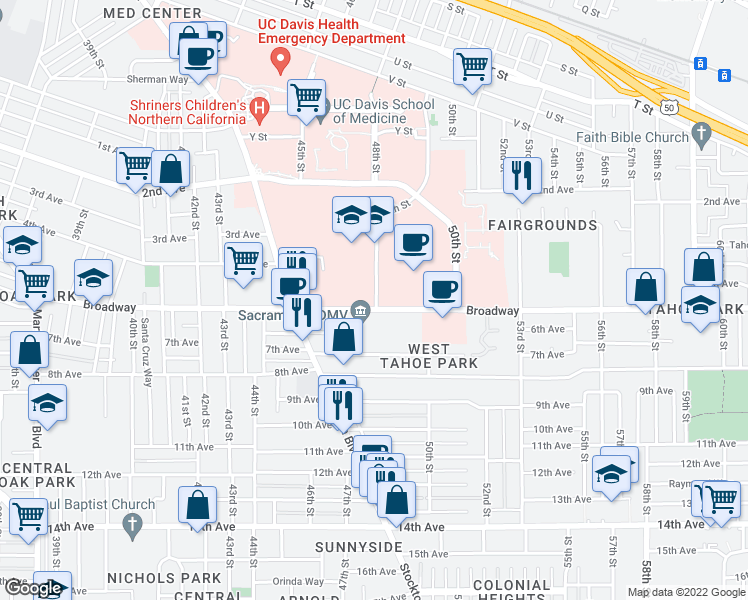 map of restaurants, bars, coffee shops, grocery stores, and more near 2950-2998 49th Street