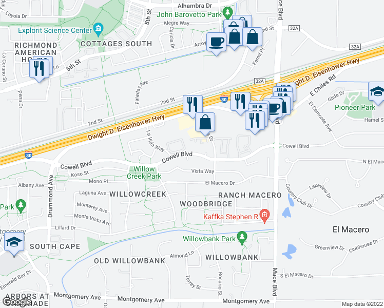 map of restaurants, bars, coffee shops, grocery stores, and more near 4141 Cowell Blvd in Davis
