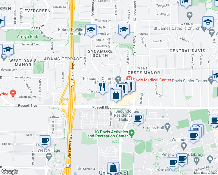 map of restaurants, bars, coffee shops, grocery stores, and more near 707 Sycamore Lane in Davis