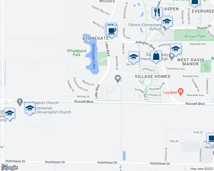 map of restaurants, bars, coffee shops, grocery stores, and more near 2949 Portage Bay West in Davis