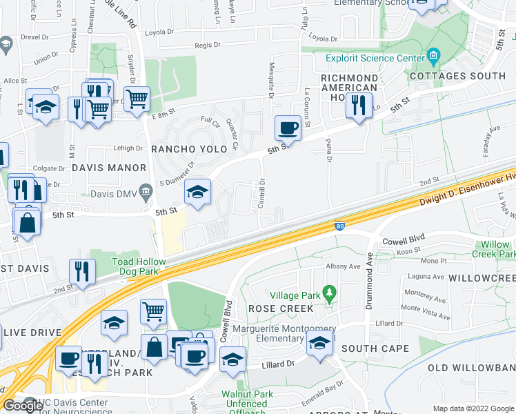 map of restaurants, bars, coffee shops, grocery stores, and more near 625 Cantrill Dr in Davis